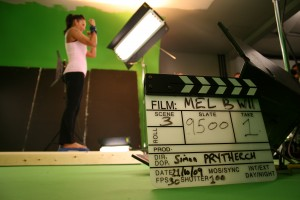 Rehearsal at the Mel B shoot